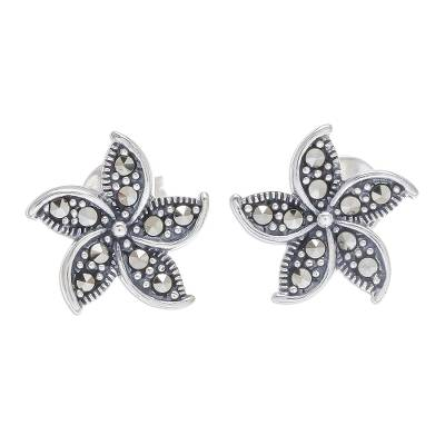Floral Sterling Silver Stud Earrings Crafted in Thailand
