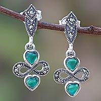 Onyx dangle earrings, 'Love for Infinity' - Heart-Shaped Green Onyx Dangle Earrings from Thailand