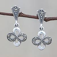 Sterling silver dangle earrings, 'Beautiful Infinity' - Infinity Motif Sterling Silver Dangle Earrings from Thailand