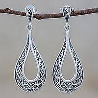 Sterling silver dangle earrings, 'Lovely Dew' - Sterling Silver and Marcasite Dangle Earrings from Thailand