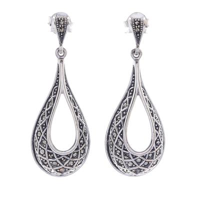 Sterling silver dangle earrings, 'Lovely Dew' - Sterling Silver and Marcasite Dangle Earrings from Thailand