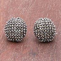 Sterling silver button earrings, 'Glittering Night' - Combination-Finish Sterling Silver Button Earrings