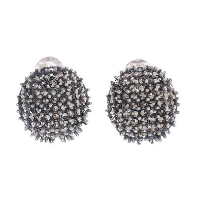 Combination-Finish Sterling Silver Button Earrings