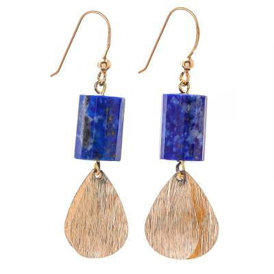 Cylindrical Lapis Lazuli Dangle Earrings from Thailand