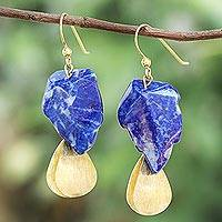 Lapis lazuli dangle earrings, 'Blue Stones' - Lapis Lazuli Stone Dangle Earrings Crafted in Thailand