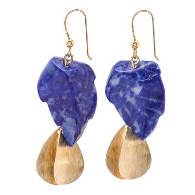 Lapis lazuli dangle earrings, 'Blue Stones' - Lapis Lazuli Stone Dangle Earrings Crafted in Thailand