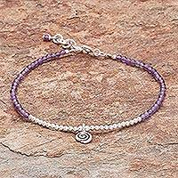 Amethyst beaded bracelet, 'Mystic Hill Tribe' - Hill Tribe Amethyst Beaded Bracelet from Thailand