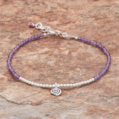 Amethyst beaded bracelet, Mystic Hill Tribe