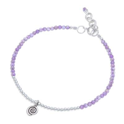 Hill Tribe Amethyst Beaded Bracelet from Thailand
