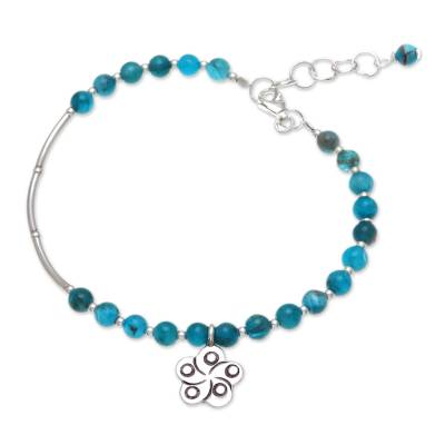 Apatite beaded bracelet, 'Beautiful Flower' - Floral Apatite Beaded Bracelet from Thailand