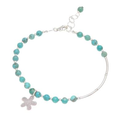 Silver and Recon. Turquoise Beaded Bracelet from Thailand