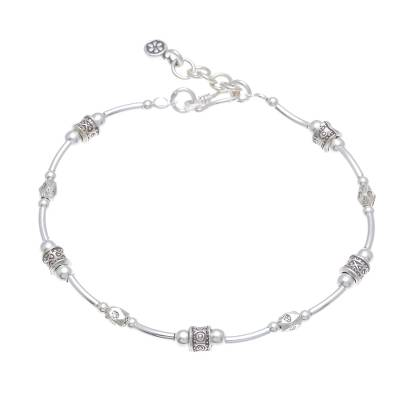 Silver beaded bracelet, 'Karen Curve' - Karen Silver Beaded Bracelet Crafted in Thailand