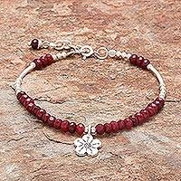 Garnet beaded bracelet, 'Karen Glisten' - Floral Garnet Beaded Bracelet from Thailand