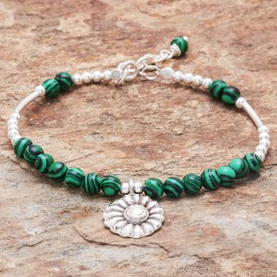 Malachite beaded bracelet, 'Pretty in Green' - Floral Malachite Beaded Bracelet from Thailand