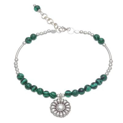 Malachite beaded bracelet, 'Pretty in Green' - Floral Malachite Beaded Bracelet from Thailand