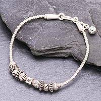 Silver beaded bracelet, 'Karen Wheel' - Karen Silver Beaded Bracelet from Thailand