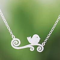 Sterling silver pendant necklace, 'Relaxing Bird' - Bird-Themed Sterling Silver Pendant Necklace from Thailand