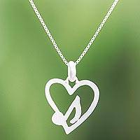 Sterling silver pendant necklace, 'Music in the Heart' - Music-Themed Sterling Silver Heart Pendant Necklace