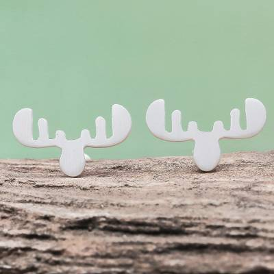Sterling silver button earrings, 'Moose Antlers' - Sterling Silver Moose Antler Button Earrings from Thailand