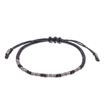Silver beaded bracelet, 'Cool Tribe' - Floral Karen Silver Beaded Bracelet in Black from Thailand