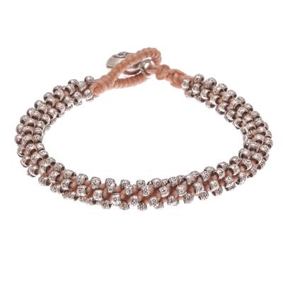 Silver beaded macrame bracelet, 'Profound Karen in Nutmeg' - Karen Silver Beaded Macrame Bracelet in Nutmeg