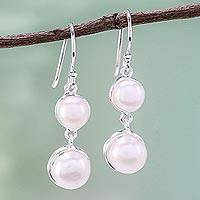 Cultured pearl dangle earrings, 'Double Moons' - Dangle Earrings with White Cultured Pearls from Thailand