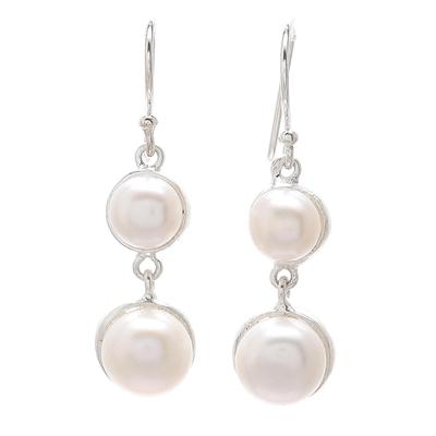 Cultured pearl dangle earrings, 'Double Moons' - Dangle Earrings with White Cultured Pearls from Thailand