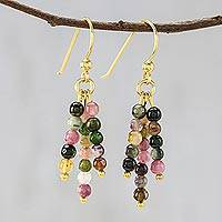 Gold plated tourmaline dangle earrings, 'Succulent Candy'