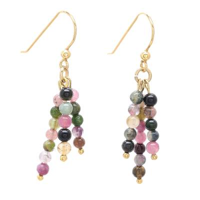 Gold plated tourmaline dangle earrings, 'Succulent Candy' - 18k Gold Plated Natural Tourmaline Dangle Earrings