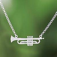 Sterling silver pendant necklace, 'Glistening Trumpet' - Brushed-Satin Sterling Silver Trumpet Pendant Necklace