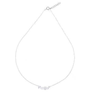 Brushed-Satin Sterling Silver Trumpet Pendant Necklace