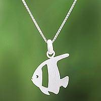 Sterling silver pendant necklace, 'Glistening Angelfish' - Brushed-Satin Sterling Silver Angelfish Pendant Necklace