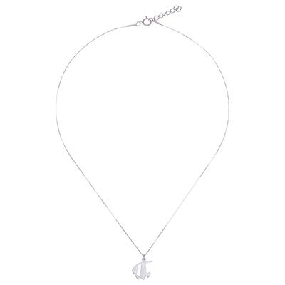 Brushed-Satin Sterling Silver Angelfish Pendant Necklace