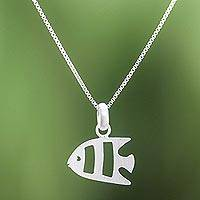 Sterling silver pendant necklace, 'Lovely Fish' - Brushed-Satin Sterling Silver Fish Pendant Necklace