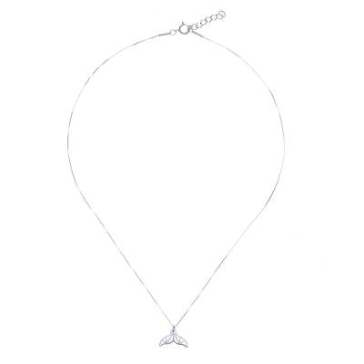Brushed-Satin Sterling Silver Whale Tail Pendant Necklace