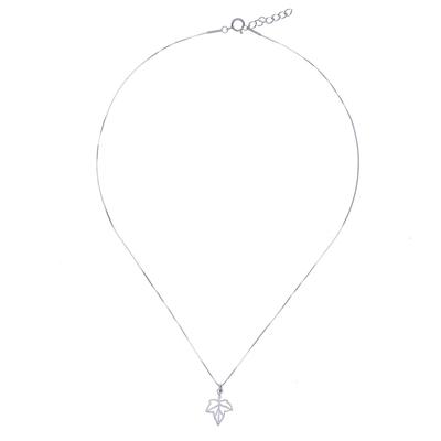 Brushed-Satin Sterling Silver Leaf Pendant Necklace