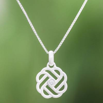 Sterling silver pendant necklace, 'Intricate Weave' - Weave Pattern Sterling Silver and CZ Pendant Necklace