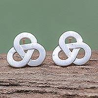 Sterling silver stud earrings, 'Celtic Trio'
