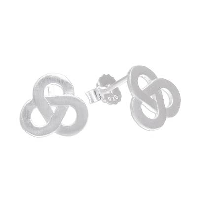 Sterling silver stud earrings, 'Celtic Trio' - Brushed-Satin Celtic Knot Sterling Silver Stud Earrings