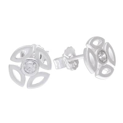 Openwork Sterling Silver and CZ Stud Earrings from Thailand