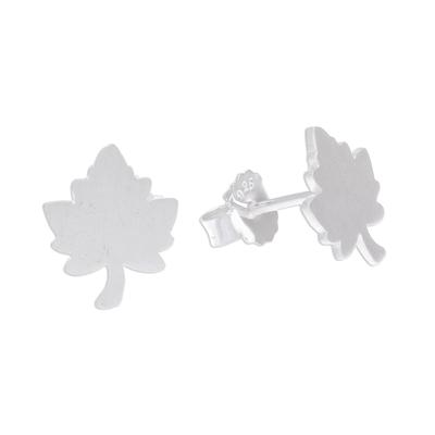 Brushed-Satin Sterling Silver Maple Leaf Stud Earrings