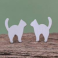 Sterling silver stud earrings, 'Standing Cat' - Brushed-Satin Sterling Silver Cat Stud Earrings