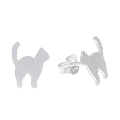 Brushed-Satin Sterling Silver Cat Stud Earrings