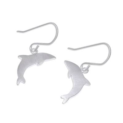 Brushed-Satin Sterling Silver Dolphin Dangle Earrings
