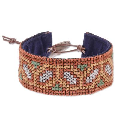 Cotton Wristband Bracelet with Hmong Cross Stitching