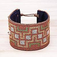 Cotton wristband bracelet, 'Hmong Maze' - Hmong Cross Stitched Cotton Wristband Bracelet from Thailand