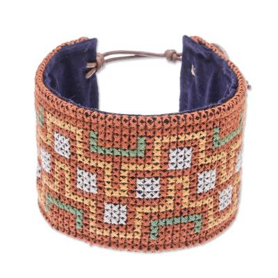 Hmong Cross Stitched Cotton Wristband Bracelet from Thailand
