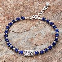 Lapis lazuli beaded bracelet, 'Forested Thailand' - Hill Tribe Lapis Lazuli Beaded Bracelet from Thailand