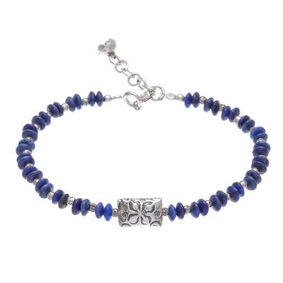 Lapis lazuli beaded bracelet, 'Forested Thailand' - Hill Tribe Lapis Lazuli Beaded Bracelet from Thailand