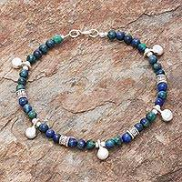 Azure-malachite beaded charm bracelet, 'Feeling Loved' - Azure-Malachite Beaded Charm Bracelet from Thailand